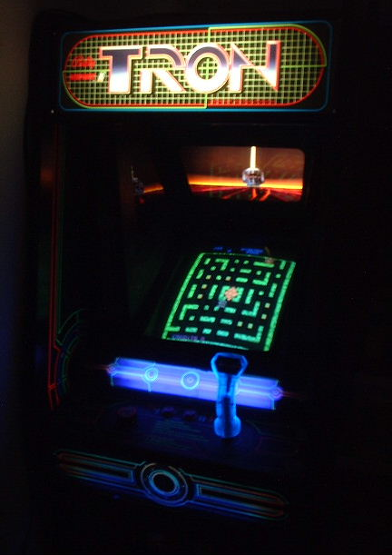 Tron in the dark, wow! Just as cool as Gorf!